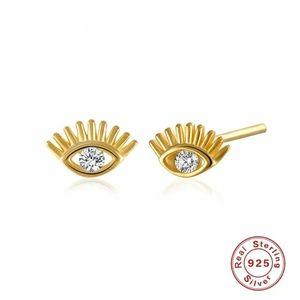 Tiny Dainty Gold Evil Eye Stud Earrings